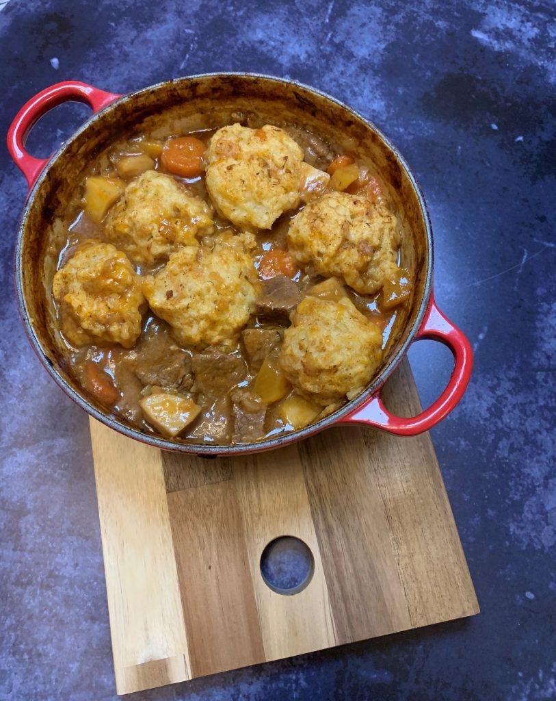 Slow-cooked beef stew and dumplings