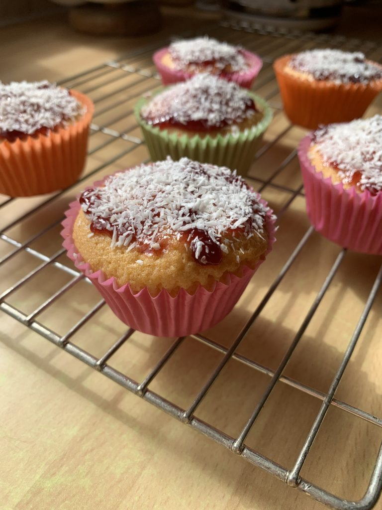 Traditional school jam and coconut cupcakes
